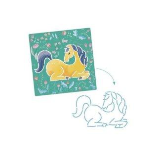 Rajzsablon Lovak, Djeco 5 db-os kreatív rajzkészlet - 8915 (4-8 év)