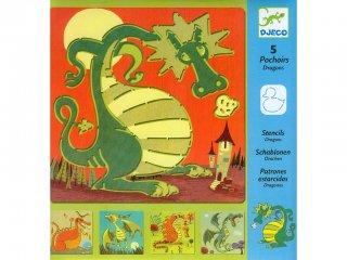 Rajzsablon, Sárkányok (Djeco, 8856, 5 db-os kreatív rajzkészlet, 4-8 év)