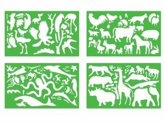Rajzsablonok, állatok (stencil animals, 4 db-os kreatív készlet, 3-10 év)