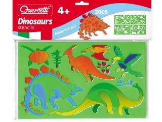 Rajzsablonok, Dinoszauruszok (Quercetti, Dinosaurs stencils, 4 db-os kreatív készlet, 3-10 év)
