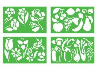 Rajzsablonok, növények (stencil flora, 4 db-os kreatív készlet, 3-10 év)