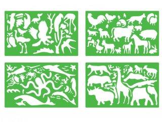 Rajzsablonok, Vadállatok (Quercetti, Animals stencils, 4 db-os kreatív játék, 4-7 év)