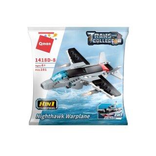 Repülőgép-hordozó anyahajó, 8 az 1-ben Lego kompatibilis építőjáték készlet (QMAN, 1418D, 6-12 év)