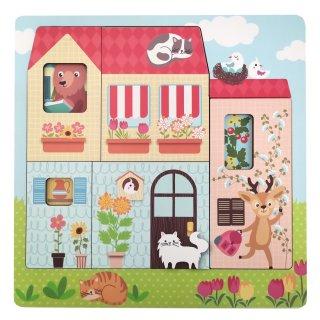 Réteges puzzle Az állatok otthona, fa készségfejlesztő játék (3-5 év)