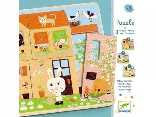 Réteges puzzle, Nyuszi otthon (Djeco, 1480, 3 rétegű fa kirakó, 2-5 év)