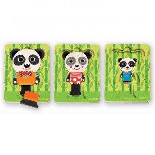 Réteges puzzle, Panda család (Djeco, 1471, 3 rétegű fajáték, 1-5 év)