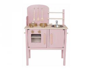 Rózsaszín játékkonyha kiegészítőkkel, fa szerepjáték (Jabadabado, 3-8 év)
