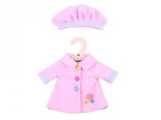 Rózsaszín kabát és sapka 30 cm-es (Bigjigs, babajáték, babaruha, 3-8 év)