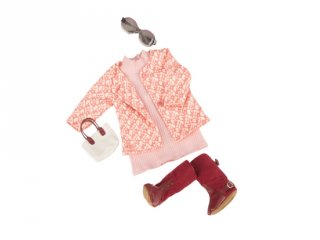 Rózsaszín ruha kabátkával, babaruha 46 cm-es babához (OG)
