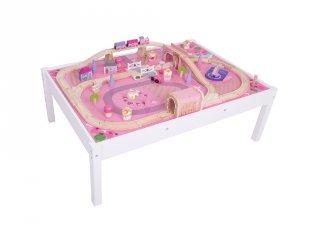 Rózsaszín varázslatos tündér terepasztal (Bigjigs, fa vonatos játék, 3-10 év)