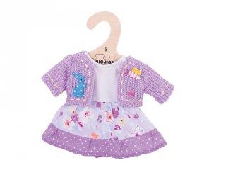 Ruha lila kardigánnal 25 cm-es (Bigjigs, babajáték, babaruha, 3-8 év)