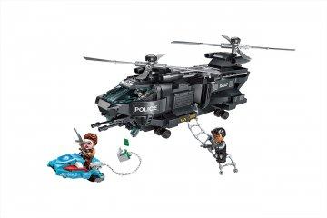 Sas rendőrségi óriáshelikopter szuper jetskivel, Lego kompatibilis építőjáték készlet (QMAN, 1928, 6-12 év)