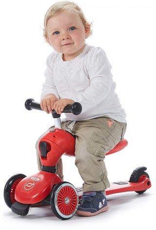 Scoot & Ride Highwaykick 1., 2 in 1 háromkerekű kismotor és roller, Piros (1-5 év)