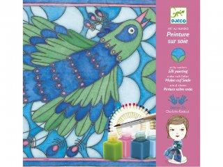Selyemfestő, Pávák (Djeco, 9850, kreatív textilfestő készlet, 8-99 év)