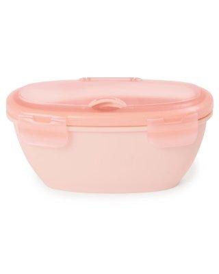 Skip Hop utazó tálka kanállal, baba etetés (rózsaszín)