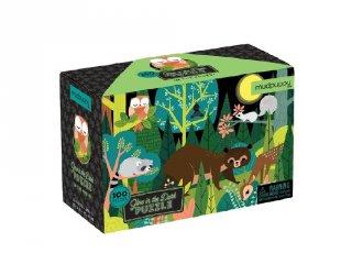 Sötétben világító puzzle, Az erdőben (Mudpuppy, 100 db-os kirakó, 5-10 év)