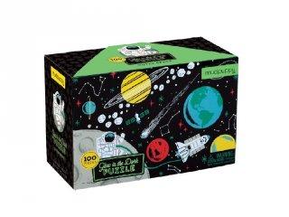 Sötétben világító puzzle, Az űrben (Mudpuppy, 100 db-os kirakó, 5-10 év)
