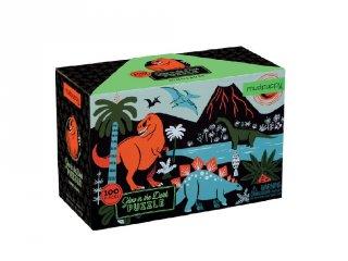 Sötétben világító puzzle, Dinoszauruszok (Mudpuppy, 100 db-os kirakó, 5-10 év)