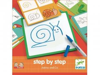 Step by Step, Állatok (Djeco, 8319, rajztanító játék, 3-7 év)