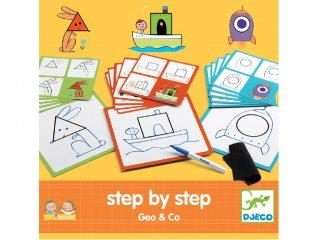 Step by Step, Geometriai formák (Djeco, 8322, rajztanító játék, 3-7 év)