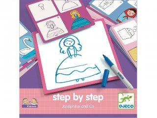 Step by Step, Lányoknak (Djeco, 8320, rajztanító játék, 3-7 év)