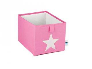 Store !T Kocka tároló, pink/fehér csillag (gyerekszoba kiegészítő)