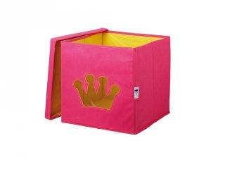 Store !T Kocka tároló, pink korona (gyerekszoba kiegészítő)