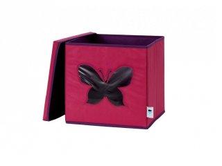 Store !T Kocka tároló, pink pillangó (gyerekszoba kiegészítő)
