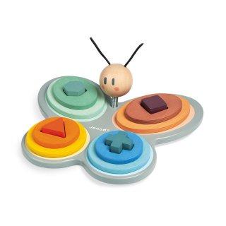 Sweet cocoon formaválogató pillangó, Janod fa készségfejlesztő játék (4418, 2-5 év)