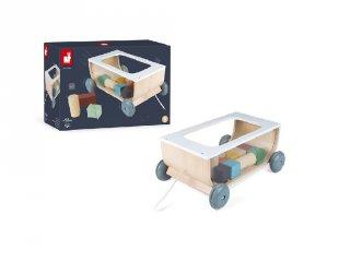 Sweet cocoon húzható kocsi építőkockákkal, Janod fa készségfejlesztő játék (4407, 1-5 év)