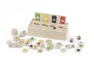 Szelektív hulladékgyűjtő, fa logikai játék (FK, 3-6 év)