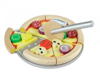 Szeletelhető fa pizza, leszedhető feltétekkel (Tidlo, 0105, fajáték, 2- 6 év)