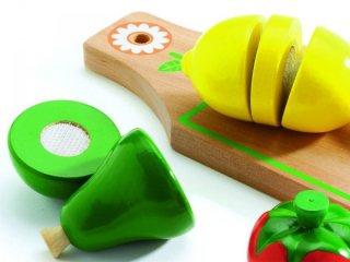 Szeletelhető gyümölcsök (Djeco, 6526, 4 db-os konyhai termék, 3-6 év)