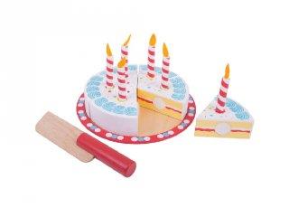 Szeletelhető szülinapi torta (Bigjigs, konyhai fajáték, 3-7 év)