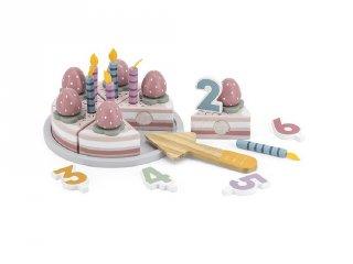 Szeletlehető szülinapi torta számokkal és díszekkel, fa konyhai szerepjáték (FK, 3-7 év)