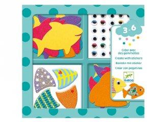 Szeretem a halakat, Djeco matricás képkészítő kreatív szett (9052, 3-6 év)