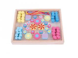 Színes gyöngyök gyöngyfűzéshez, Cukorkák (Bigjigs, kreatív játék, 4-8 év)