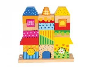 Színes montessori ház, 26 db-os bébi építőjáték fából (2-4 év)