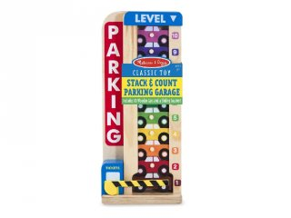 Színes-számos autós parkolótorony, fa készségfejlesztő játék (MD, 5182, 3-6 év)