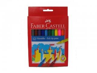 Színes tűfilc készlet (Faber-Castell, 12 db-os 2mm-es vékony filctoll szett, 3-12 év)