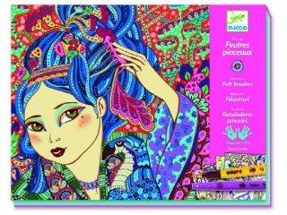 Színező készlet, Cseresznyefa lányok (Djeco, 8613, kreatív játék, 8-14 év)