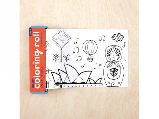 Színező tekercs 4 db színes ceruzával, A világ körül (Mudpuppy, 3-7 év)