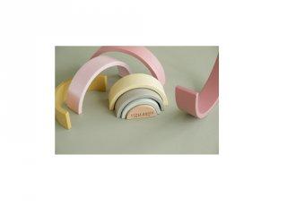 Szivárvány építő, Little Dutch fa készségfejlesztő játék, pink (7033, 18 hó-5 év) ÚJ!