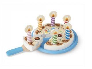 Szülinapi torta, szeletelhető (MD, 10511, fa konyhai szerepjáték, 3-8 év)