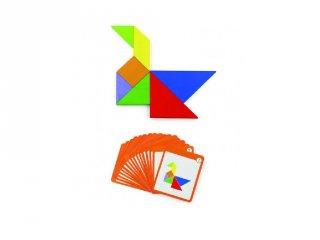 Tangram dobozban, 35 db-os mágneses logikai képkirakó fajáték (FK, 4-8 év)