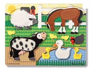 Tapintós formaberakó, Farm állatai (4327, Melissa & Doug, fa bébijáték, 0-2 év)