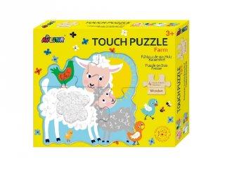 Tapintós puzzle, háziállatok, 4 db bébi formakirakó fából (Avenir, 2-4 év)