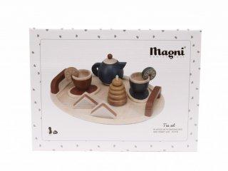 Teázós készlet fából, 16 db-os szerepjáték (Magni, 3-8 év)