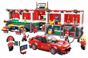 Teljes boxutca és autós kamion, kinyitható Lego kompatibilis építőjáték készlet (QMAN, 4204, 6-12 év)
