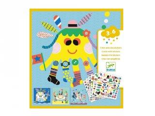 Tengeri lények díszítése matricákkal, Djeco kreatív készlet - 8931 (3-6 év)